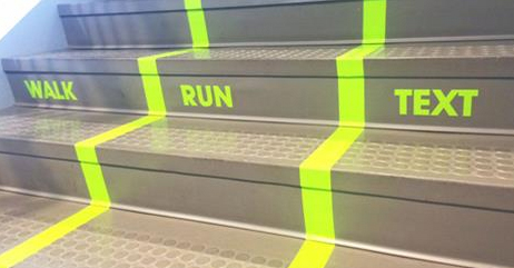 "Utah Valley University Creates ""Texting Lane"" on Busy Staircase"