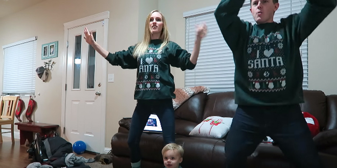 Ellie and jared share ugly christmas sweater dance party for Ellie and jared