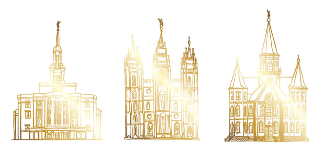 LDS Artist Creates Remarkable Depictions of Temples with Gold Foil