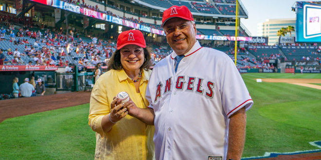 Elder Rasband Throws Ceremonial Pitch in Los Angeles