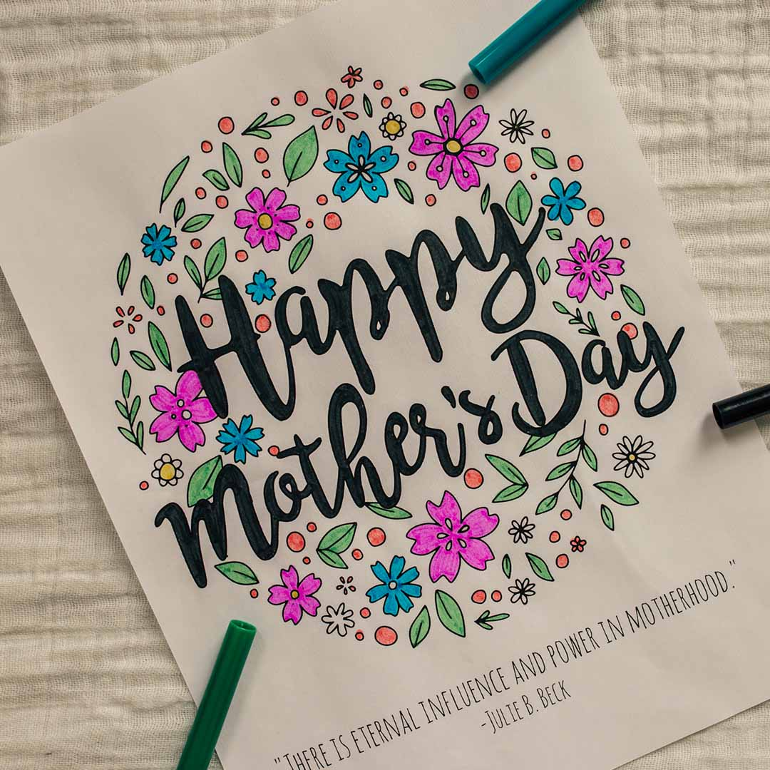 Happy Mother's Day Coloring Page - Printable