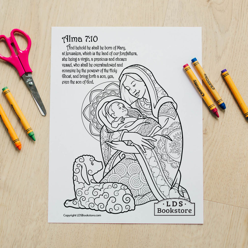 Mary & Baby Jesus Coloring Page - Printable